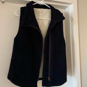J. Crew navy fleece vest women's SMALL